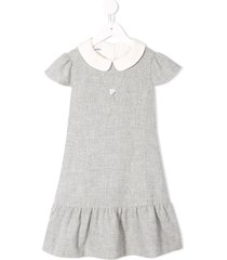 familiar peter pan collar dress - grey