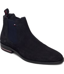 signature hilfiger suede chelsea shoes chelsea boots blå tommy hilfiger