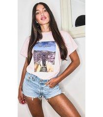 oversized t-shirt met grote karma afbeelding, roze