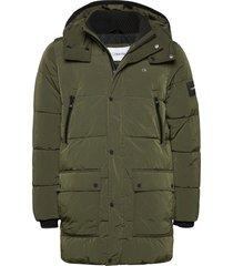 crinkle nylon long length jacket fodrad jacka grön calvin klein