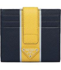 prada saffiano strap detail card holder - blue