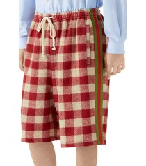 men's gucci oversize check wool shorts