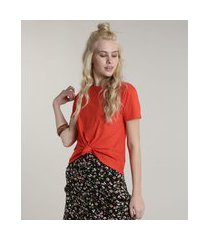 blusa feminina básica com nó manga curta decote redondo vermelha