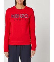 kenzo women's classic sweatshirt kenzo paris - medium red - l