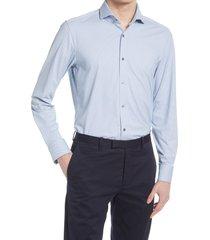 men's boss jason slim fit patterned performance stretch dress shirt, size 14.5 - blue