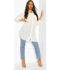 woven long line shirt, white