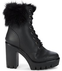 chunk leather & shearling booties