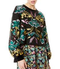 women's alice + olivia gaia blouson sleeve sweatshirt, size large - black