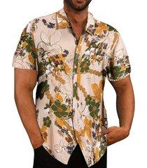 hombres playa hawaiian tropical summer short sleeve camisa