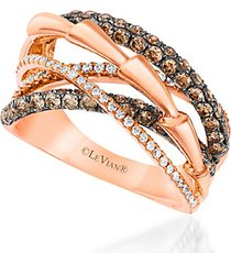 le vian chocolatier® 14k strawberry gold® and chocolate & vanilla diamonds® ring