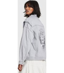 alix the label 2103432860 ladies woven denm biker jacket