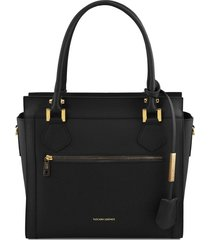 tuscany leather tl141644 lara - borsa a mano in pelle con zip frontale nero