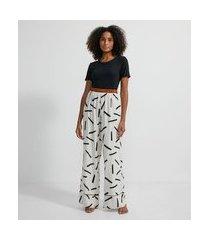 pijama em viscose com blusa manga curta e calça estampada | lov | cinza médio | gg