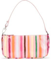 by far rachel stripe-print shoulder bag - pink