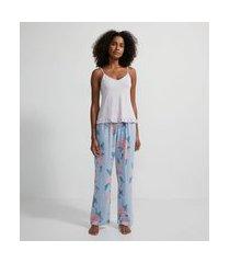 pijama em viscose floral com blusa de alcinha e calça | lov | azul | p
