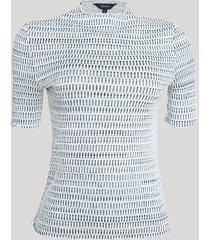 blusa feminina em tricô texturizada manga curta decote redondo preto