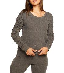 plus size women's chaser shirred sleeve sweatshirt, size x-large - black