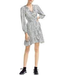 maje women's rosana animal print a-line wrap dress - white - size 3 (l)
