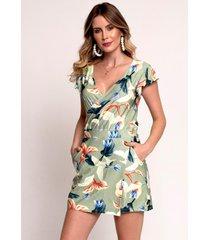 macaquinho bisã´ shorts saia estampado verde - verde - feminino - dafiti