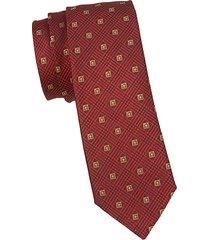 embroidered logo silk tie