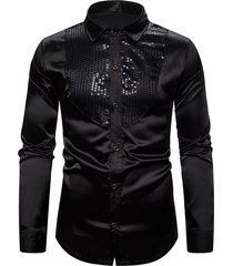 glitter sequins insert button up shirt