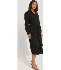 na-kd classic tie front shirt dress - black