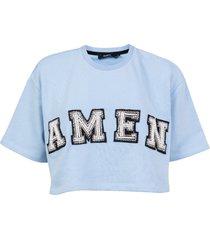amen cropped mini-sweatshirt featuring embroidery pearl logo pattern