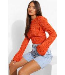 gaatjes trui met open rug, orange