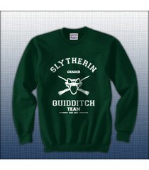 chaser old slytherin quidditch team white ink unisex crewneck sweatshirt