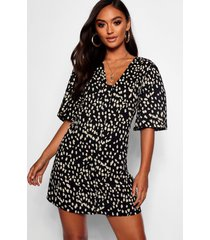 petite dalmatian print button through shift dress, black