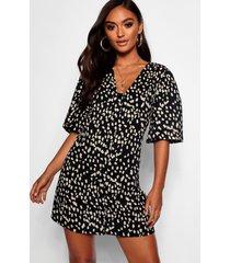 petite dalmatiër print jurk met knopen, zwart