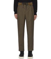 contrast elastic waistband centre pleat pants