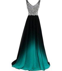 sheer beaded black gradient turquoise chiffon long prom evening dresses us 6