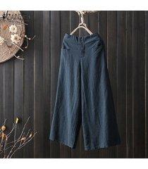 zanzea mujeres más tamaño pantalones de cintura alta culottes sólidos pantalones de pierna ancha básico de la llamarada -azul