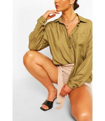 oversized linen look shirt, khaki