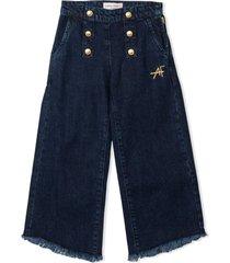 alberta ferretti dark blue cotton trousers