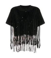 isabel marant camiseta bianea com franjas e contas - preto