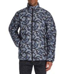tallia men's slim-fit water resistant camo leopard print puffer jacket