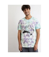camiseta masculina ovni estampada tie dye manga curta gola careca multicor