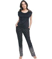 pijama feminino de manga curta preto paisley com renda - preto - feminino - viscose - dafiti