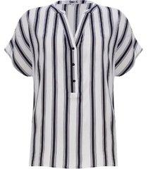 blusa a rayas m/c con pechera color blanco, talla 10