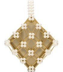 vanina camelia pearl-embellished bracelet bag - neutrals