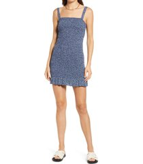 bp. smocked tank dress, size x-large in navy simple floral at nordstrom