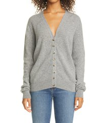 women's khaite amelia button front cashmere cardigan, size x-small - grey