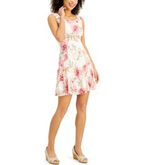 connected petite printed lace tiered-ruffle fit & flare dress