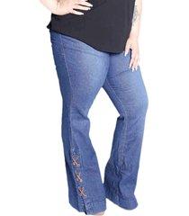 calça de jeans flare plus size da mix jeans