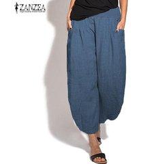 zanzea mujeres elásticos de la cintura harem ancho de las piernas de los pantalones largos holgados pantalones plus -azul