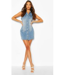 denim sleeveless button front dress, blue