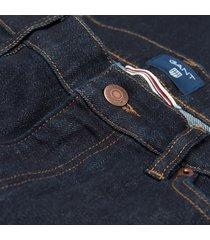 gant donkerblauwe jeans five pocket model straight fit stretch katoen