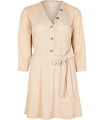 river island womens petite cream ribbed belted mini dress